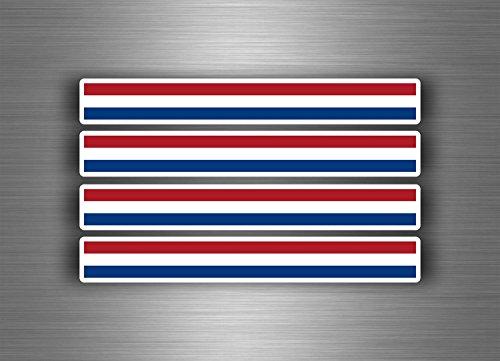 Akachafactory Stickers voor auto, motorfiets, strepen, vlag, tuning, Nederlands, 4 stuks