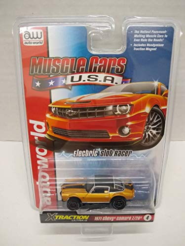 Auto World SC354-4 Muscle Cars USA 1971 Camaro Z/28 HO Scale Electric Slot Car - Gold