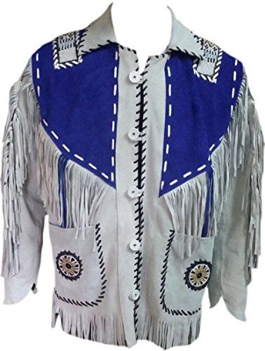 Bestzo Men's Western Cowboy Fringe Suede western Leather Jacket XS-5XL (3XL, Blue/White)