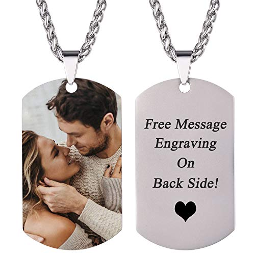U7 Custom Dog Tag Necklace with Picture Stainless Steel Chain Personalized Photo Pendant for Men...