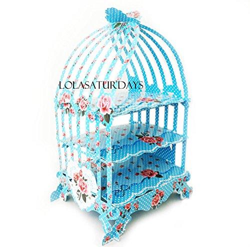 LolaSaturdays Birdcage 3 tier pastry cupcake stand (blue)
