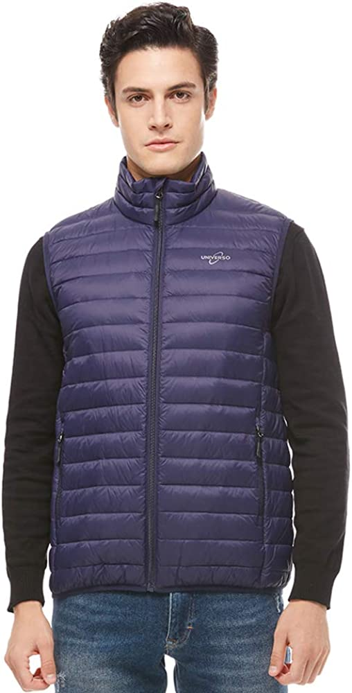universo Men's Lightweight Packable Down Vest Stand Collar Outdoor Insulated Puffer Vest with Pockets(Navy,XL)