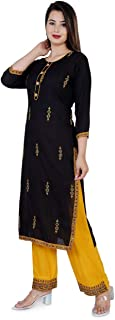RIYA FABRICS Women's Rayon Printed Kurta with Palazzo Set