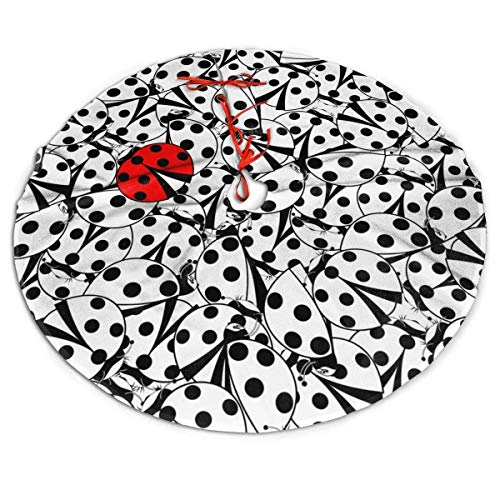 Sherrygeoffrey Bug Insect Ladybug Merry Comfortable Christmas Tree Skirt Party Supply Tree Skirts Aprons Size 48' inch Fashion Black