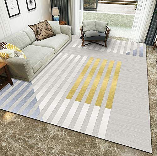 WDSZY Modern Polyester Carpet, Living Room Bedroom Geometric Printed Area Rug, Stain-Resistant Baby Crawling Floor Mat 120X170Cm