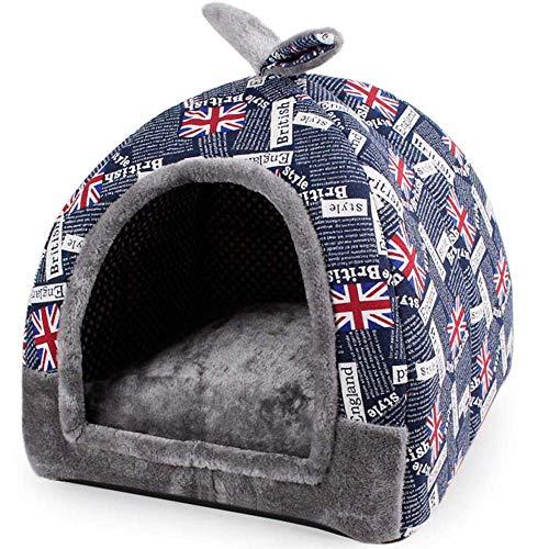 Hanshu, casetta per animali 2in 1,igloo a piramide e divano morbido con interni caldi, lavabile, letto per cani e gatti