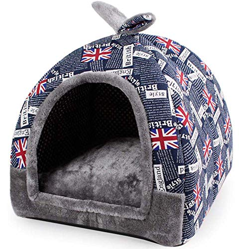 Hanshu 2 in 1 Pet House and Sofa Indoor Soft Warm Washable Igloo Pyramid Cat Dog Beds,(Jack Flag, L)