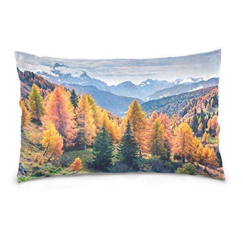 Top Carpenter Capa de almofada de pelúcia lombar oblonga de Giau Pass da Morning View – 50,8 x 76,2 cm – Design decorativo invisível com zíper apenas para sofá e fronha
