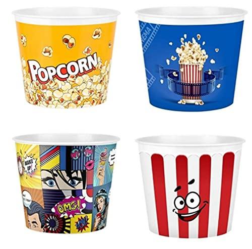 Cubo de plástico para chips de maíz, cubo de palomitas de maíz, caja de chips de maíz, cubo de palomitas de maíz, 4 piezas Organizador de almacenamiento de cocina Cookies Cinema-default
