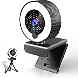 Webcam Streaming Gaming, 2K Web Cam 1080P HD USB 3.0 with Microphone & Ring Light & Tripod & Cover Video Camera PC Mac Desktop Computer for Windows 10 7 Zoom Xbox OBS YouTube Twitch-Wide Angle