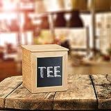 Relaxdays Aufbewahrungsbox mit Tafel, schmale Holzbox, Bambus, mit Deckel, für Küche, HBT: 17 x 15,5 x 15,5 cm, natur - 5