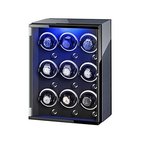 GLXLSBZ Caja de Enrollado de Reloj 9 para Reloj automático Luces de Colores Almohadas de Reloj Ajustables Motor silencioso para Hombres Relojes de Mujer (Color: C)