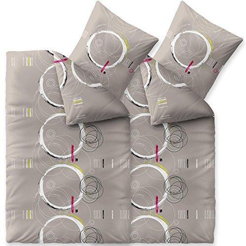 CelinaTex Fashion Bettwäsche 135x200 cm 4teilig Baumwolle Magic Kreise Grau Weiß