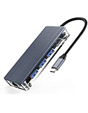 Hub USB C HDMI ORICO 6 in 1 Adattatore USB C con RJ45 Ethernet 1000Mbps, 3 Porte USB 3.0, 4K HDMI, Ricarica PD da 100W Per MacBookPro/iPad Pro/Dispositivi Type C