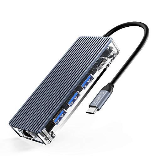 Hub USB C HDMI ORICO 8 in 1 Adattatore USB C con RJ45 Ethernet 1000Mbps, 3 Porte USB 3.0, 4K HDMI, Ricarica PD da 100W, Lettore SD/Micro SD Compatibile Per MacBookPro/iPad Pro/Dispositivi Type C