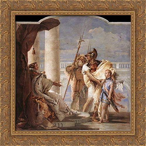 Detail of Dido, from Aeneid Presents Cupid, Disguised As Ascanius, to Dido 20x20 Gold Ornate Wood Framed Canvas Art by Giovanni Battista Tiepolo