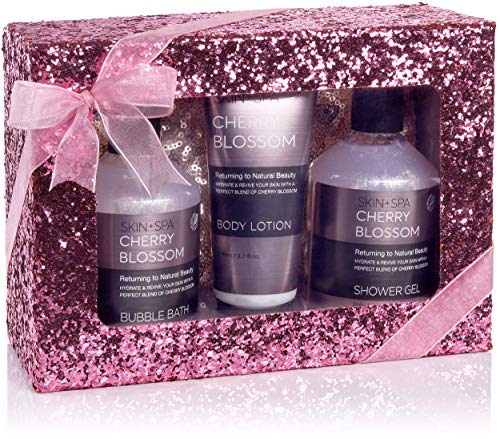 BRUBAKER Cosmetics - Coffret de bain & bien-être - Fleur de cerisier - 4 Pièces - Trousse à maquillage pratique - Boîte paillettes/Rose - Idée cadeau