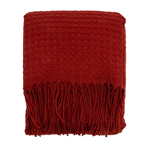 EverGrace Waffle Throw Blanket 60 x 50 Lightweight Soft Cozy Fringe Throw Blanket for Bed Sofa Couch