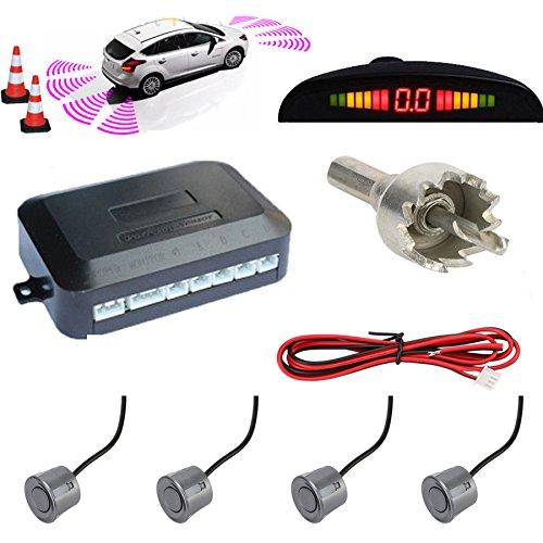 TKOOFN® Universal KFZ Radar Aparcamiento Sensor Alarma Acustica Indicador LUZ Kit LED Marcha Atras (4 Unidades Gris)