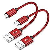 CLEEFUN Cable USB C Corto [0,3m 2 Unidades], Cable de Nailon Tipo C, Carga Rápido para Samsung...