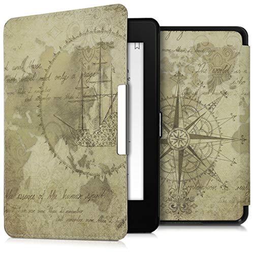 kwmobile Schutzhülle kompatibel mit Amazon Kindle Paperwhite (10. Gen - 2018) - Hülle Kunstleder eReader - Travel Vintage Braun Hellbraun