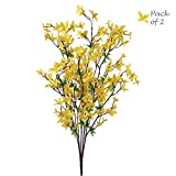 Larksilk 28' Artificial Forsythia Bushes, Yellow & Green Hues, Handcrafted Branches, Indoor & Outdoor Décor