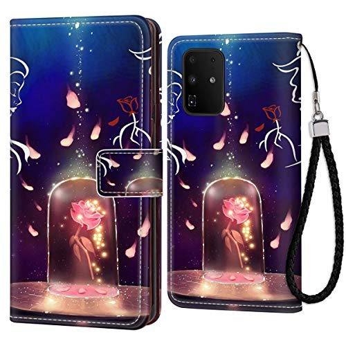 DISNEY COLLECTION Wallet Case for Samsung Galaxy S20+ Galaxy S20 Plus Case Beauty and The Beast with Kickstand Card Holder and Wrist Strap Folio Flip Wallet Case with Coin Slot