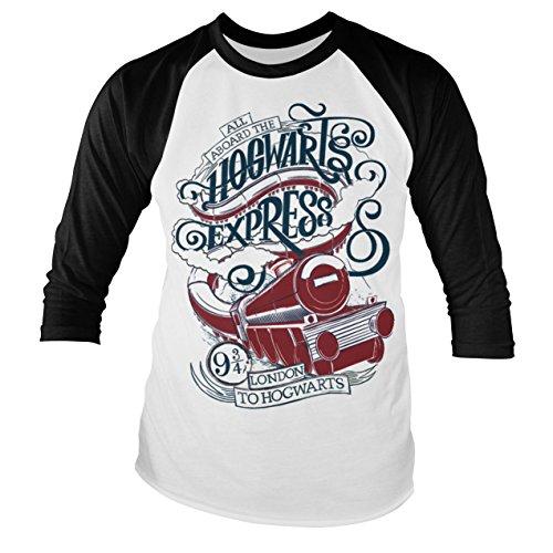 Offizielles Lizenzprodukt All Aboard The Hogwarts Express Baseball Lange Ärmel T-Shirt (Weiß/Schwarz), XX-Large