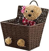 SKGOFGODcw Home Storage Bins Straw storage basket,creative bear, rattan basket, wall hanging basket without perforation, c...
