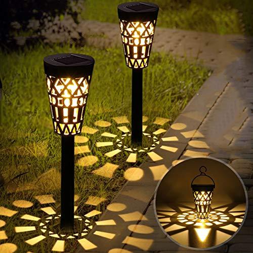 Solarleuchte Garten GolWof 2 Stück LED Warmweiße Solarlampe Gartenleuchte Außenleuchte Wasserdicht Lichteffekt Dekoration Licht für Terrasse Rasen Garten Wege