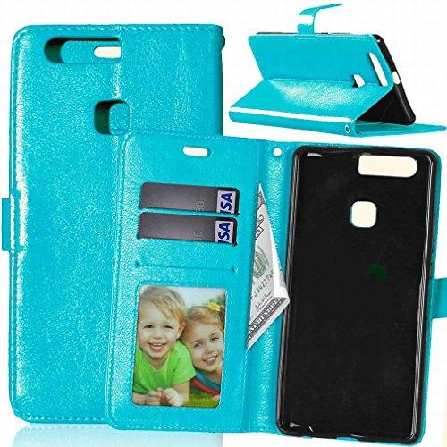 Yiizy Huawei P9 Plus VIE-L09 VIE-L29 Funda, Bastidor Diseño Billetera Carcasa Estuches PU Cuero Cover Cáscara Protector Piel Ranura para Tarjetas Estilo (Azul)