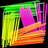 Blacklight Neon Drinking Straws 300 Pack in 4 Bright Colors for Retro Party Time or Kids Birthday. Each BPA-Free Straight Straw is Individually Wrapped in a Paper Wrapper. Great for Craft Projects!