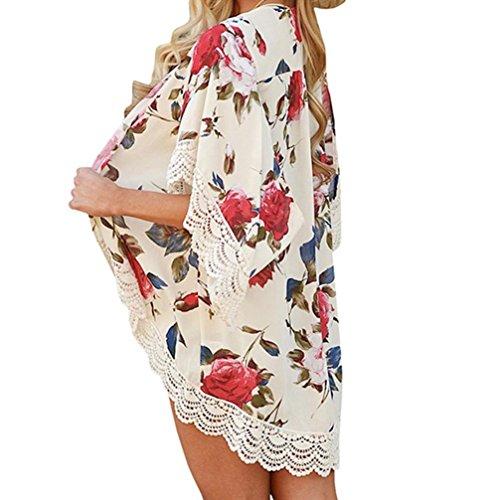 Cinnamou Cárdigan Kimono de Gasa Floral de Mujer Blusa de Primavera Beach Cover up Ropa de Verano (Beige, XL)