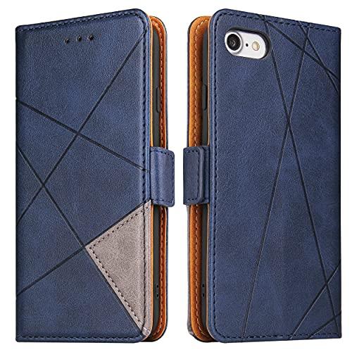 BININIBI Funda para iPhone SE 2020 Funda, iPhone 7, funda de piel con tapa, funda protectora para iPhone 7/8/SE 2020, azul