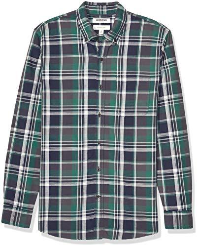 Amazon Brand - Goodthreads Men's Slim-Fit Long-Sleeve Chambray Shirt, Green Grey Oversized Plaid X-Small