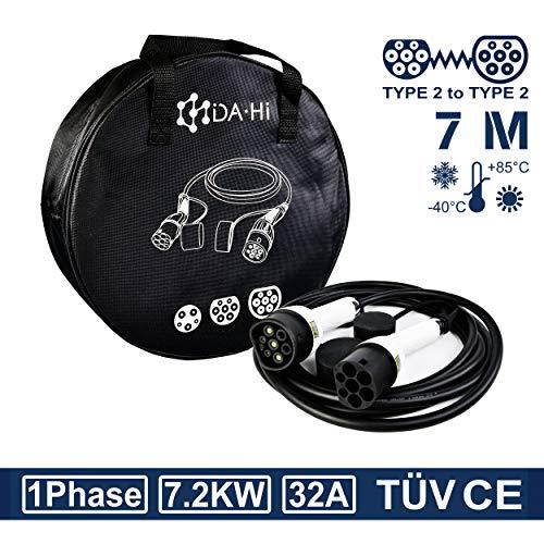 DA • Hi Cable de carga para vehículos eléctricos e híbridos tipo 2 | 7,2 KW 32 A 1 fase 7 m blanco / negro | Certificación TÜV y CE, IP54, Protección contra lluvia, viento y polvo
