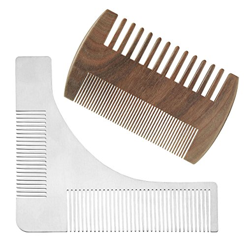 Faleto 2 in 1 Bartpflegeset Edelstahl Bart Schablone Bartkamm + Sandelholz Kamm Bartpflege für Kinnbart Koteletten Hals, perfekt Bartform, Bart Styling