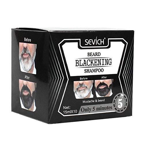 F Fityle Champú para Barba Tinte Champú para Ennegrecimiento de Barba Cuidado de La Barba Champú para Teñir La Barba Color de La Barba Que Dura No Menos de 4 S - 10 piezas
