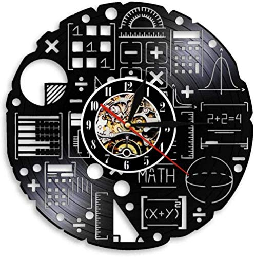 zgfeng Mathematical Algebra Geometry Vinyl Record Wall Clock Mathematical Science Quartz Decoration 3D Clock Wall Clock Modern Home Decoration