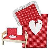 2 TLG.Set Puppenbettwäsche Decke + Kissen für Baby-Puppen bis 43 cm (ohne Puppenbett)