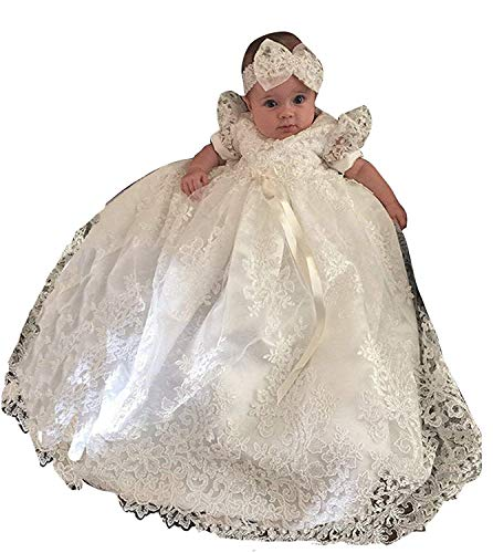 ShineGown Baby Mädchen Taufkleider Taufe zarte Bestickte Kleid mit Mütze für 0-24 Monate