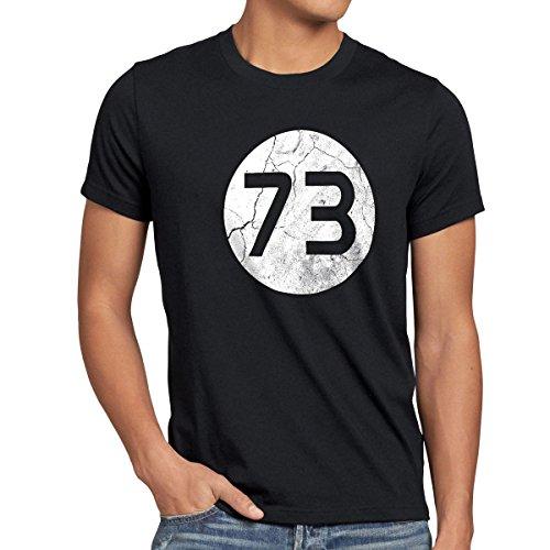style3 Sheldon Lieblingszahl 73 Herren T-Shirt, Größe:M;Farbe:Schwarz