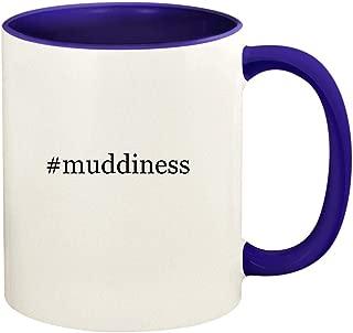 #muddiness - 11oz Hashtag Ceramic Colored Handle and Inside Coffee Mug Cup, Deep Purple