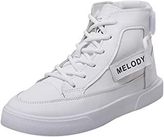 Yong Ding Women Fashion Sneakers Soft Microfiber Leather Upper High Top Casual Trainers with Breathable Splice Design for Fitness