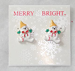 MERRY BRIGHT 2016 Mr. Bingle Stud Earrings (New Orleans Snowman Icon)