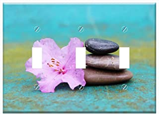 Switch Plate Triple Toggle - Azalea Stone Pile Stack Stones Blossom Bloom Pink
