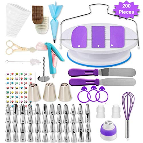Shpebs UPDATED Cake Decorating Supplies | 100 Pcs Cake Decorating Kit Baking Supplies Set | Rotating Cake Turntable Stand | Icing Piping Tips & Bags | Smoother & Spatulas, Frosting & Pastry Tools.
