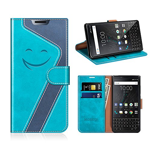 MOBESV Smiley BlackBerry Key2 Hülle Leder, BlackBerry Key2 Tasche Lederhülle/Wallet Hülle/Ledertasche Handyhülle/Schutzhülle für BlackBerry Key2, Aqua/Dunkel Blau
