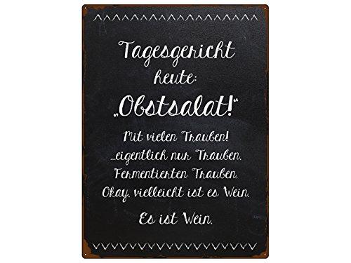 Interluxe WANDSCHILD Metallschild TAGESGERICHT Heute OBSTSALAT Spruch Küche Wein Lustig Dekoration Winzer