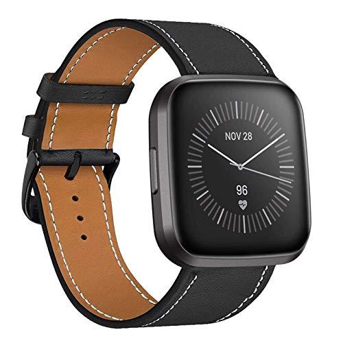 iBazal Piel Correas Compatible con Fitbit Versa/Versa Lite/Versa 2 Classic Edition Correa Cuero Bandas de Reemplazo para Fitbit Blaze Pulseras Hombres Mujeres Reloj Inteligente Accesorio - Negro